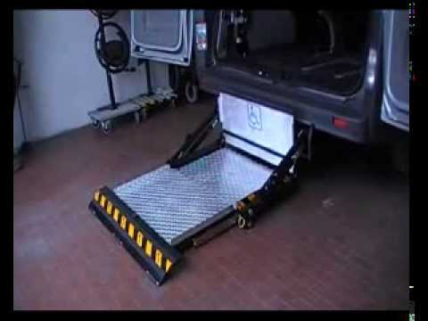 Wheelchair lift underfloor under vehicle. Italian exporter
