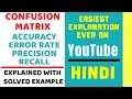 Confusion Matrix ll Accuracy,Error Rate,Precision,Recall Explained with Solved Example in Hindi