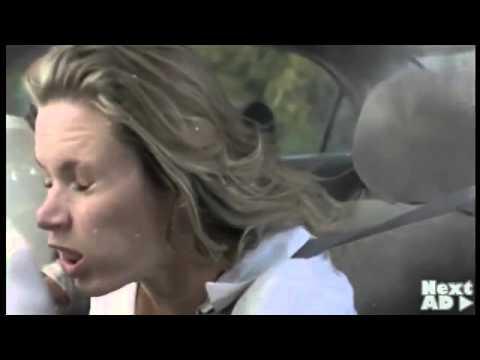 Car crash destroys bodies  slow motion gore