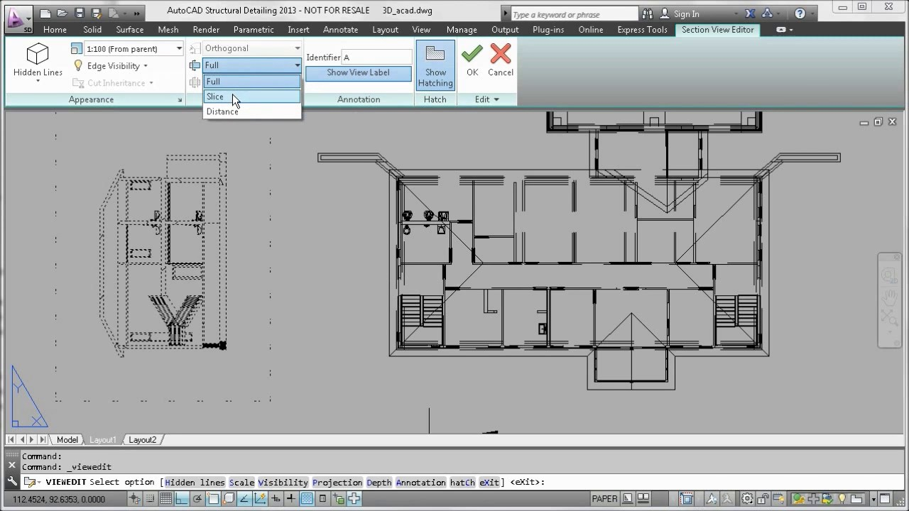 Section Elevation Plan View : Autocad section elevation and plan views from d