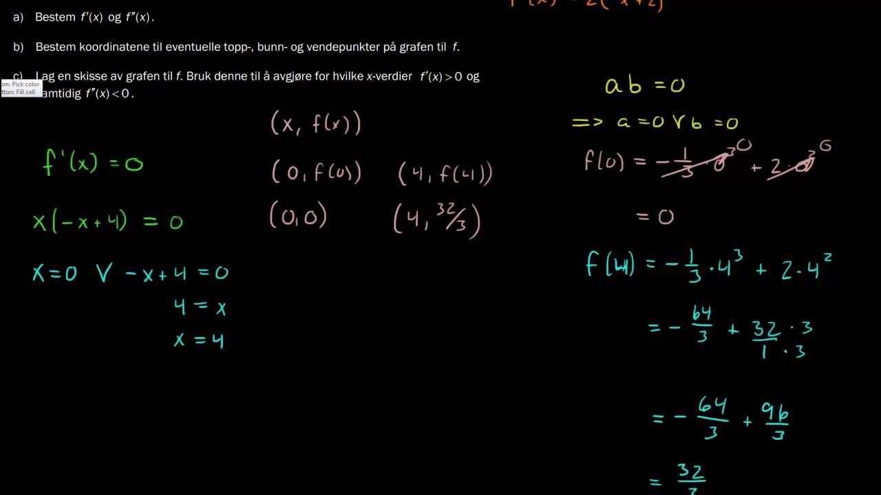 R1 eksamen, høst 2013, Del 1 - 6b) Ekstremalpunkter og vendepunkter
