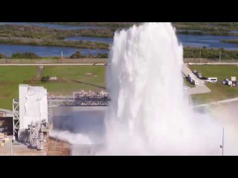 Kennedy Space Center Water Flow Test at Launch Complex 39-B For SLS