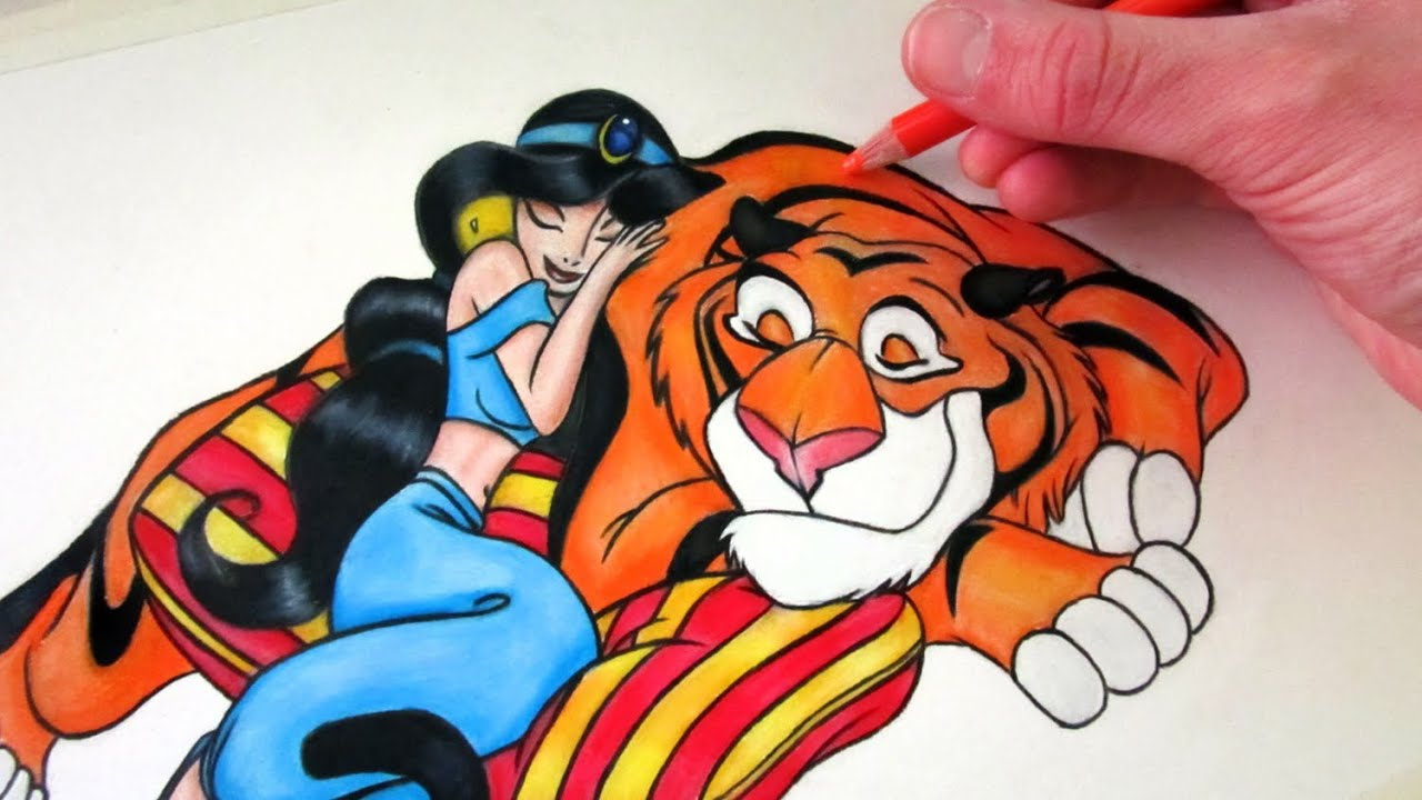 How to draw princess jasmine and rajah lethalchris drawing