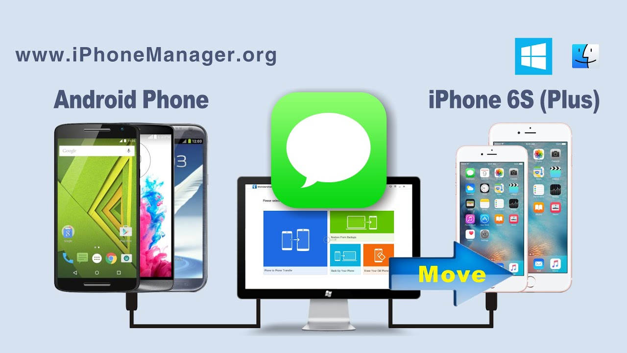 How to Transfer SMS Text Messages from Android Phone to iPhone 6S / 6S Plus  on Windows