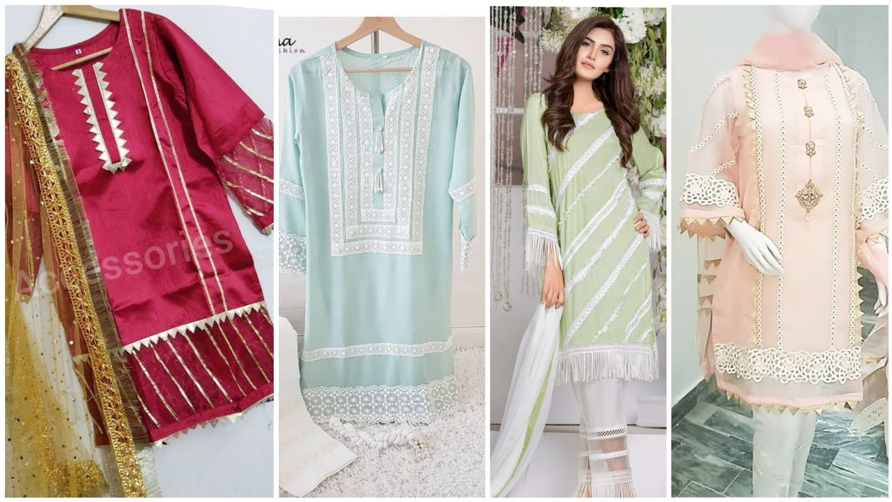 53 Very Creative Kurti Designs With Laces & Gota Lace Designing Idea's Detail Video