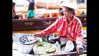 THAI STREET FOOD, FLOATING MARKET THAILAND,  COOKING FOOD ON BOATS, Damnoen Saduak Floating Market