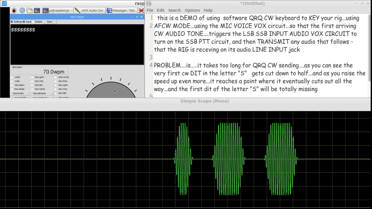 Keying your RIG with QRQ CW from a software CW KEYBOARD in AFCW MODE(pt1 -  VOX PTT alone)