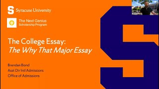 Syracuse University & The Why This Major Essay