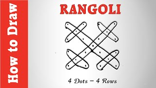 How to Draw Rangoli with 4 Dots -- 4 Rows