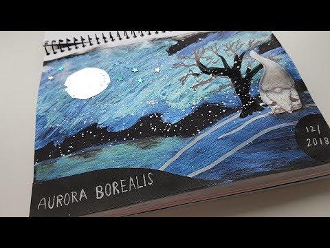 ART JOURNAL Using Amsterdam Pearl Set / Black Background - Aurora Borealis