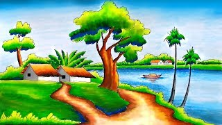Beautiful Scenery Drawing -Step by Step