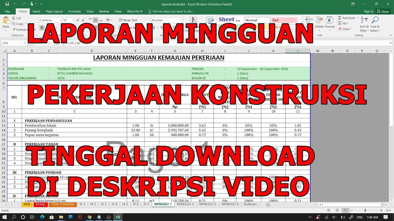 CARA MEMBUAT LAPORAN MINGGUAN PROYEK KONSTRUKSI - YouTube