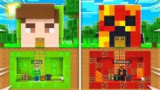 SECRET Underground Base Build BATTLE! (PrestonPlayz vs Jelly Minecraft Challenge)