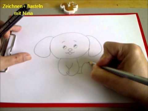Lieben Hund/Welpen  zeichnen. Zeichnen + Basteln zum Muttertag
