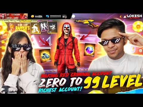 Making Red Criminal Account 0 Level To 99 Level 🤯🤯🤯 With 1M Diamonds 😱 OMG Garena Free Fire
