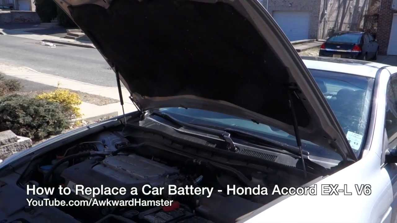 how to replace a car battery honda accord ex l v6 youtube. Black Bedroom Furniture Sets. Home Design Ideas