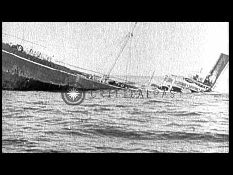 Scenes of battle at sea during World War I, including sinking of SMS Szent Istvan HD Stock Footage