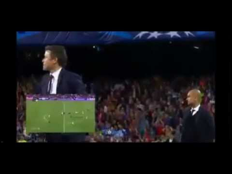 Luis Enrique celebrating Neymar's goal against Bayern Munich