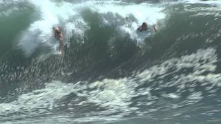 The Wedge Newport Beach Balboa Island body surfing. Big waves for the day.