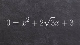 tutorial factoring a perfect square trinomial with a square root y x 2 2sqrt 3 x 3