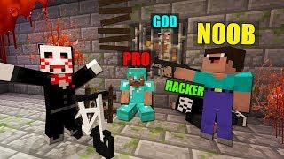 Minecraft Battle: NOOB vs PRO vs HACKER vs GOD: SAW HORROR SURVIVAL GAME in Minecraft / Animation