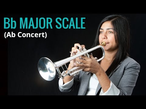 How to Play Bb Major Scale (Ab Concert) on Trumpet, by Estela Aragon (FULL HD-1080p)