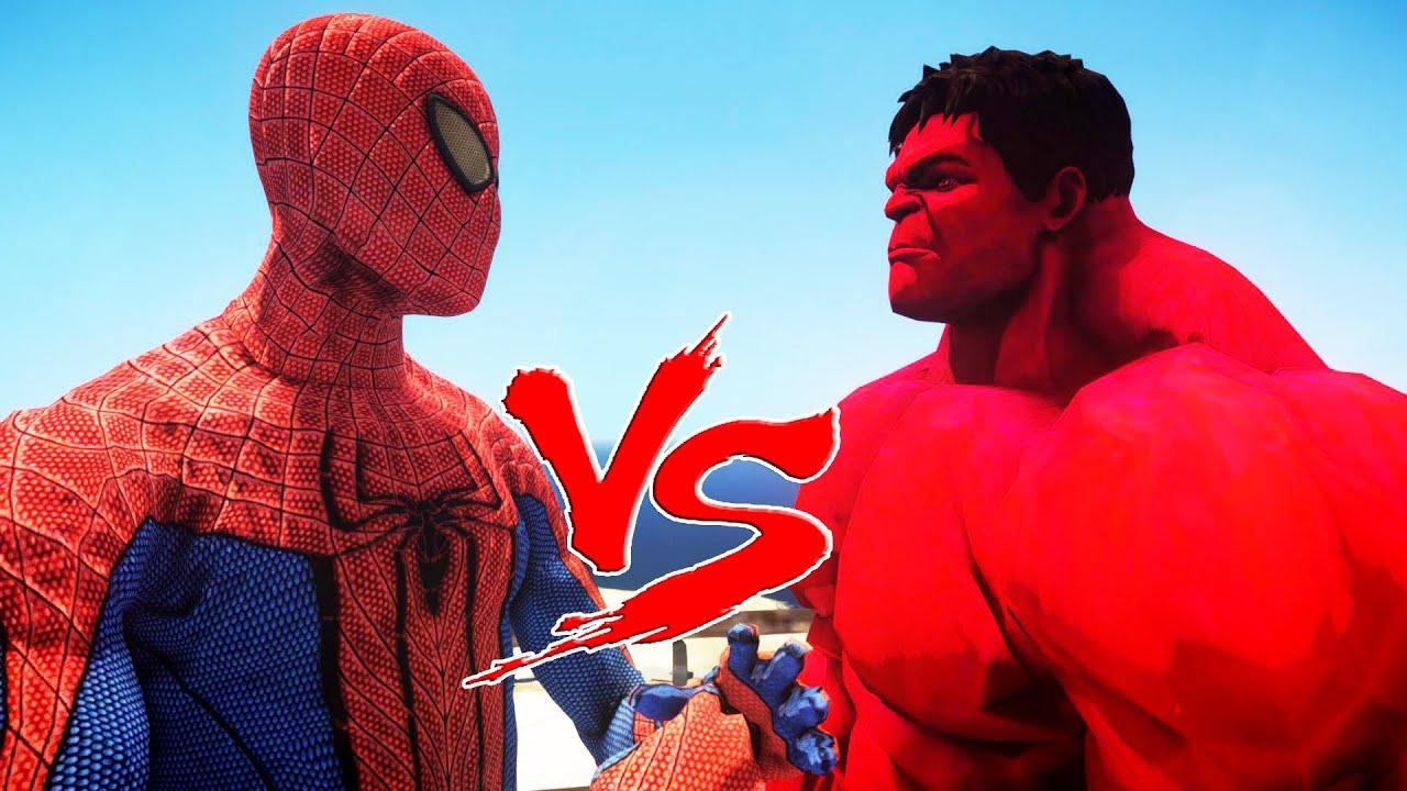 SPIDERMAN VS RED HULK - THE AMAZING SPIDER-MAN - YouTube