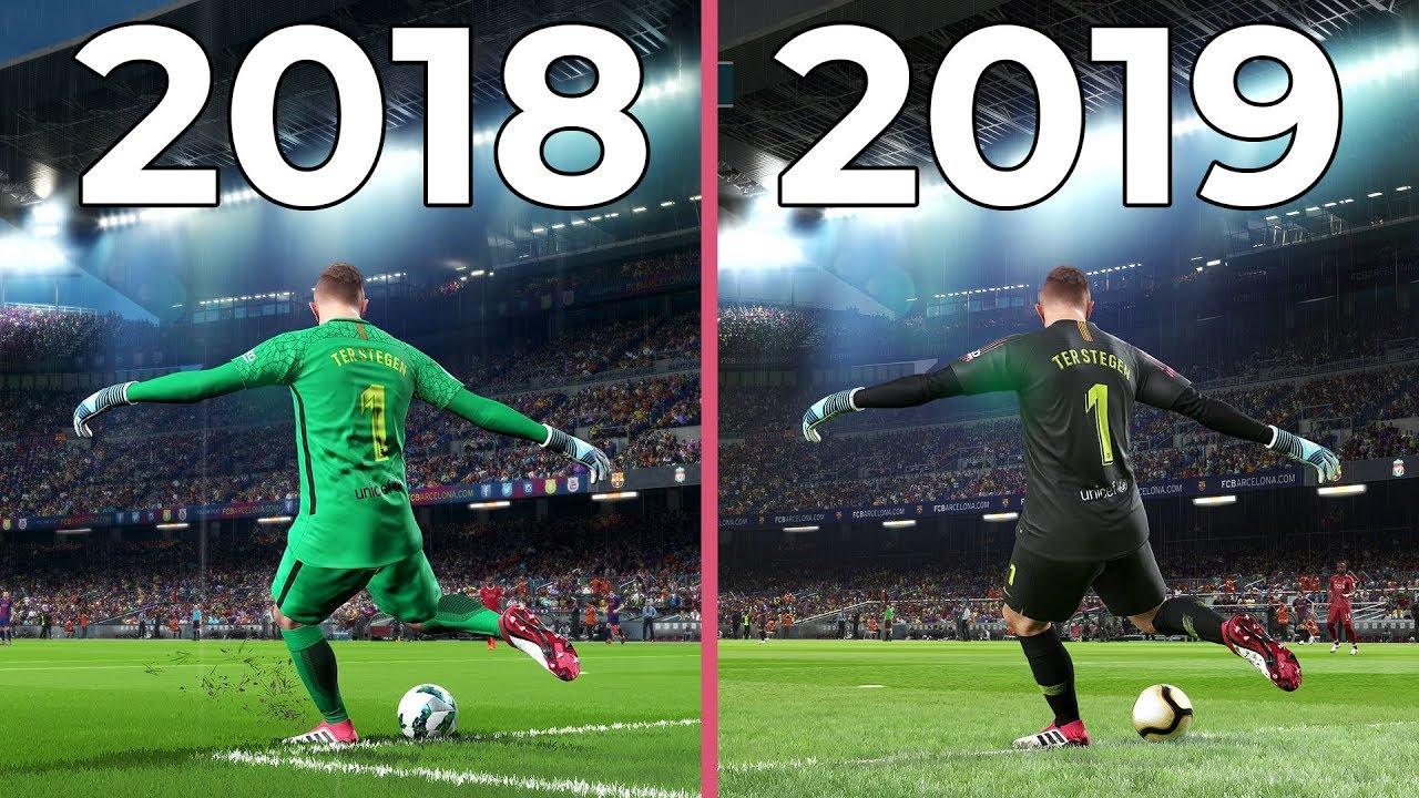 PES 2018 vs  PES 2019 on PC 4K Max Graphics Comparison (DEMO)