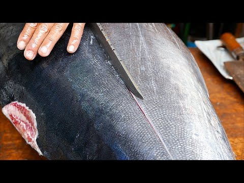 Japanese Street Food - GIANT BLUEFIN TUNA CUTTING Sashimi Tokyo Seafood Japan
