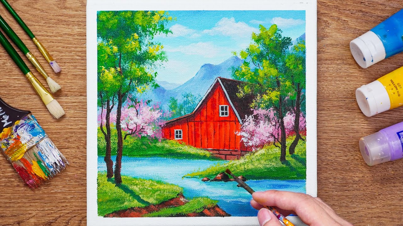 Acrylic Landscape Painting in House near The River - Daily art 99