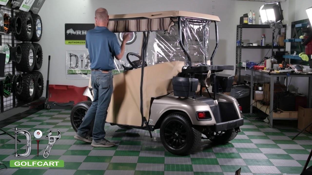 Pro Touring Sunbrella Enclosure Installation on EZGO TXT Golf Cart on golf cart side curtains, golf cart rain curtains, golf cart convertible top,