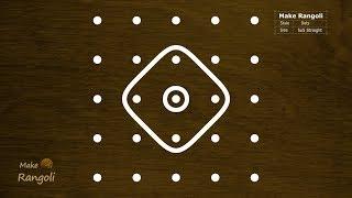Sikku kolam with 5x5 dots | Simple Melika Muggu with 5 dots | Kambi Kolam | Make Rangoli