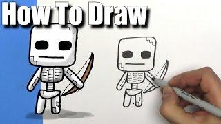 How To Draw a Cute Cartoon Minecraft Skeleton - EASY Chibi - Step By Step - Kawaii