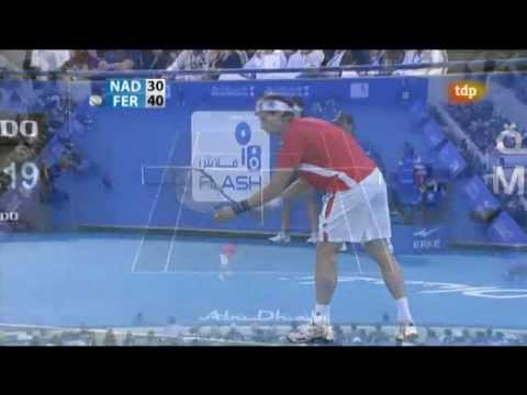 Rafa Nadal hits David Ferrer with a ball. Lot of laughs :)  Abu Dhabi 2011