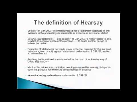 What is an example of non-hearsay? Youtube.