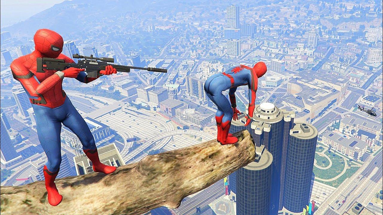 GTA 5 Crazy Ragdolls Red SPIDERMAN Jumps/Fails (Euphoria Physics, Funny Moments) EPIC