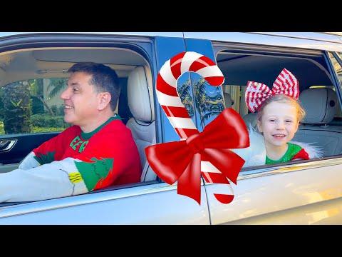 Nastya and Family drive-thru Christmas trip