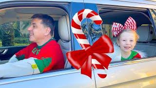 Nastya and Family drive thru Christmas trip