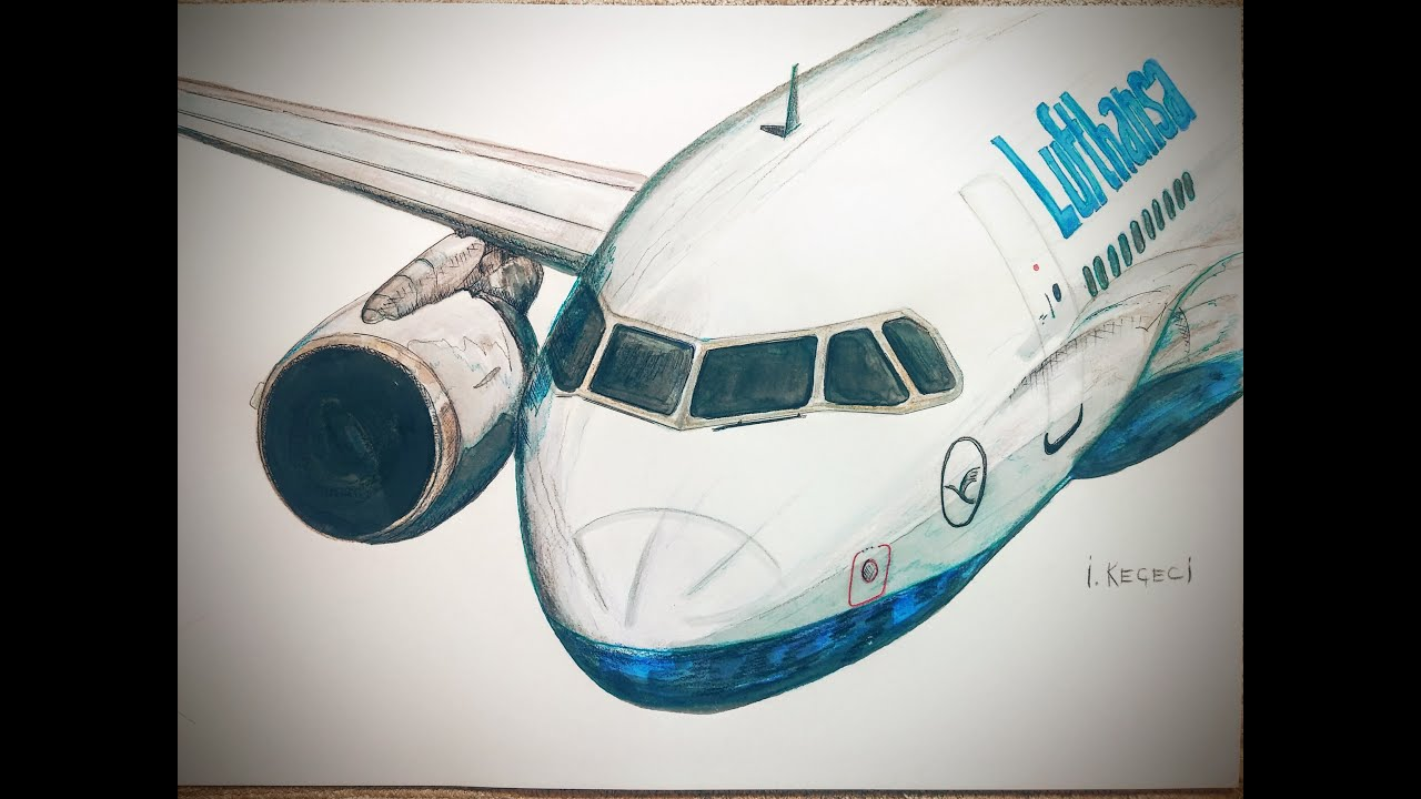 how to draw a lufthansa plane