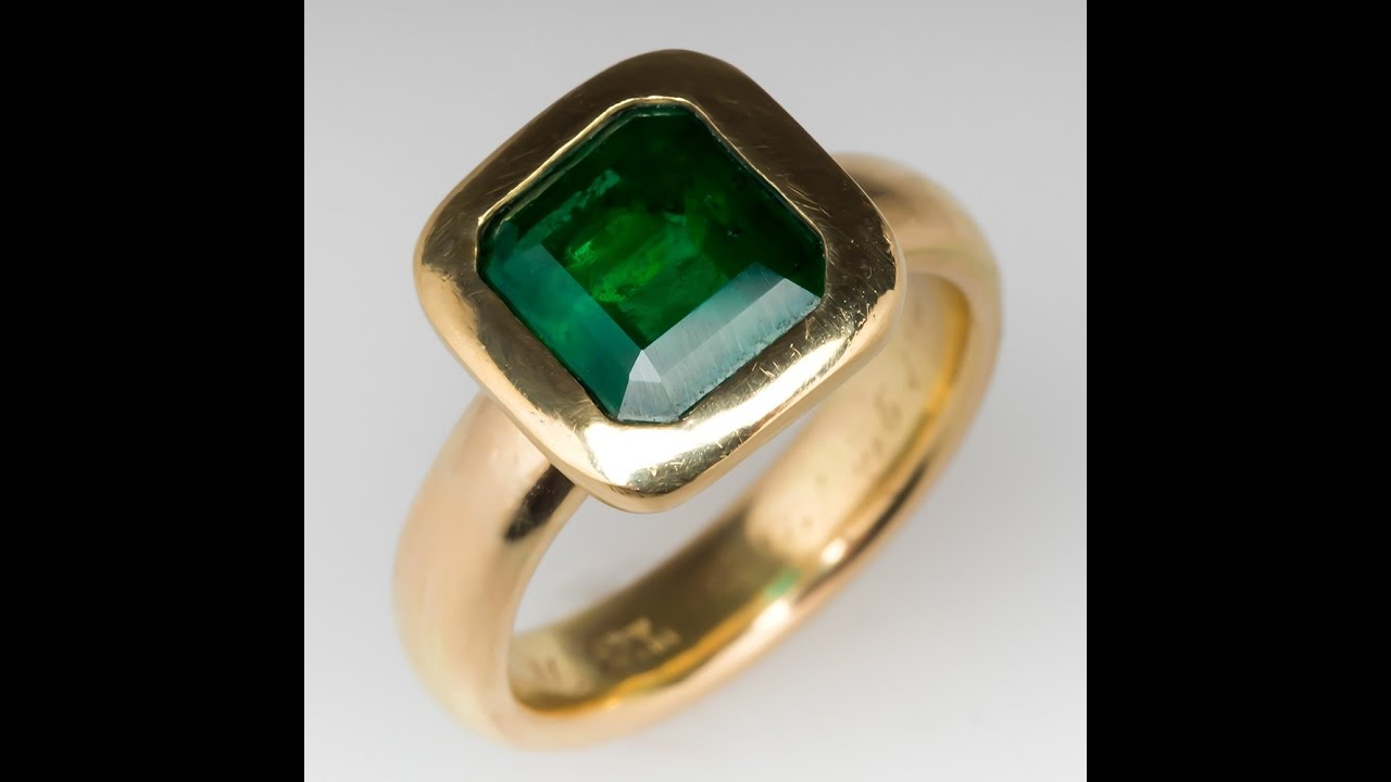 Mens 3 7 Carat Emerald Ring On Antique 18k Tiffany Co Band Youtube