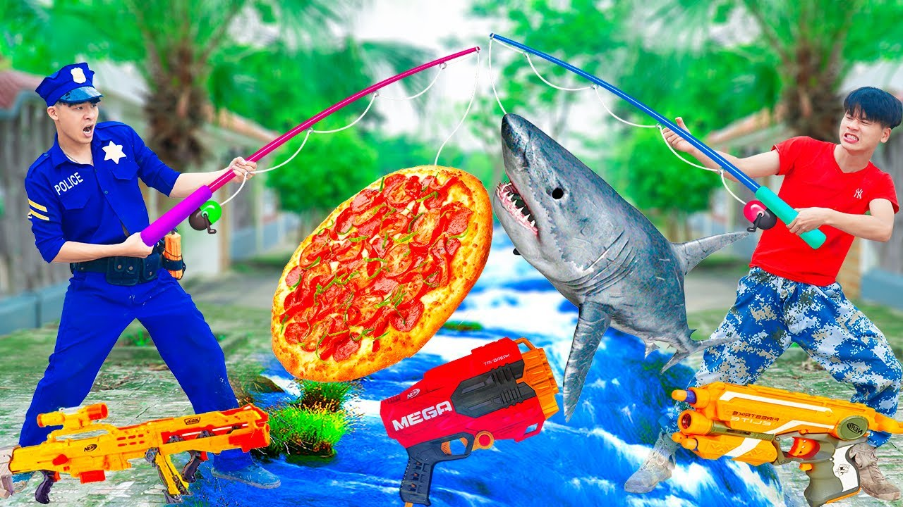 Battle Nerf War MPXMAN Fishing PIZZA & COMPETITION Nerf Guns Fight Man FISHING DOLPHIN NERF BATTLE