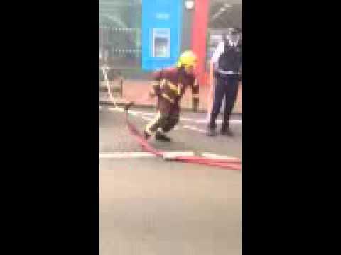 Amateur Strikebreaking Firefighter Uses Wrong End of Hose