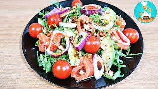 Салат с авокадо, с рукколой, красной рыбой и помидорами: рецепт салата без майонеза пошагово 🥗