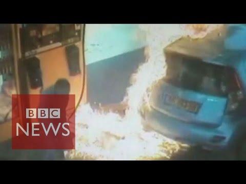Petrol Pump Set On Fire Deliberately By Israeli Woman - BBC News