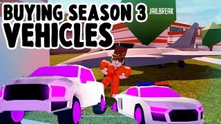 BUYING ALL SEASON 3 VEHICLES!! STRIKER / RAPTOR / R8!! JailBreak! -Roblox