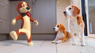 Cute Dog IN REAL LIFE Animation : CGI Animated Louie The Beagle