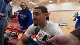 Klay Thompson on randomly getting interviewed for local New York news station | ESPN Video
