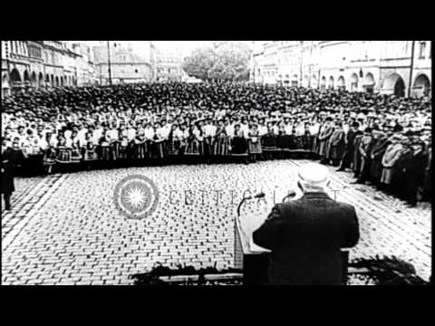 French politician addresses a large crowd in France. HD Stock Footage