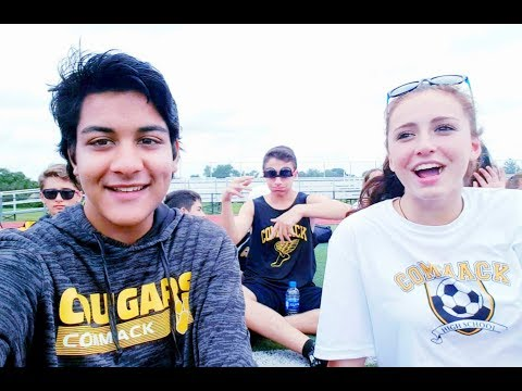 Meeting people at the Pep Rally 2018   Commack High School   Zad AT Vlogs