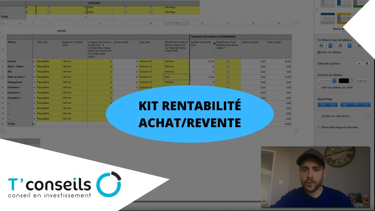 Tutoriel KIT calucl de rentabilité achat revente